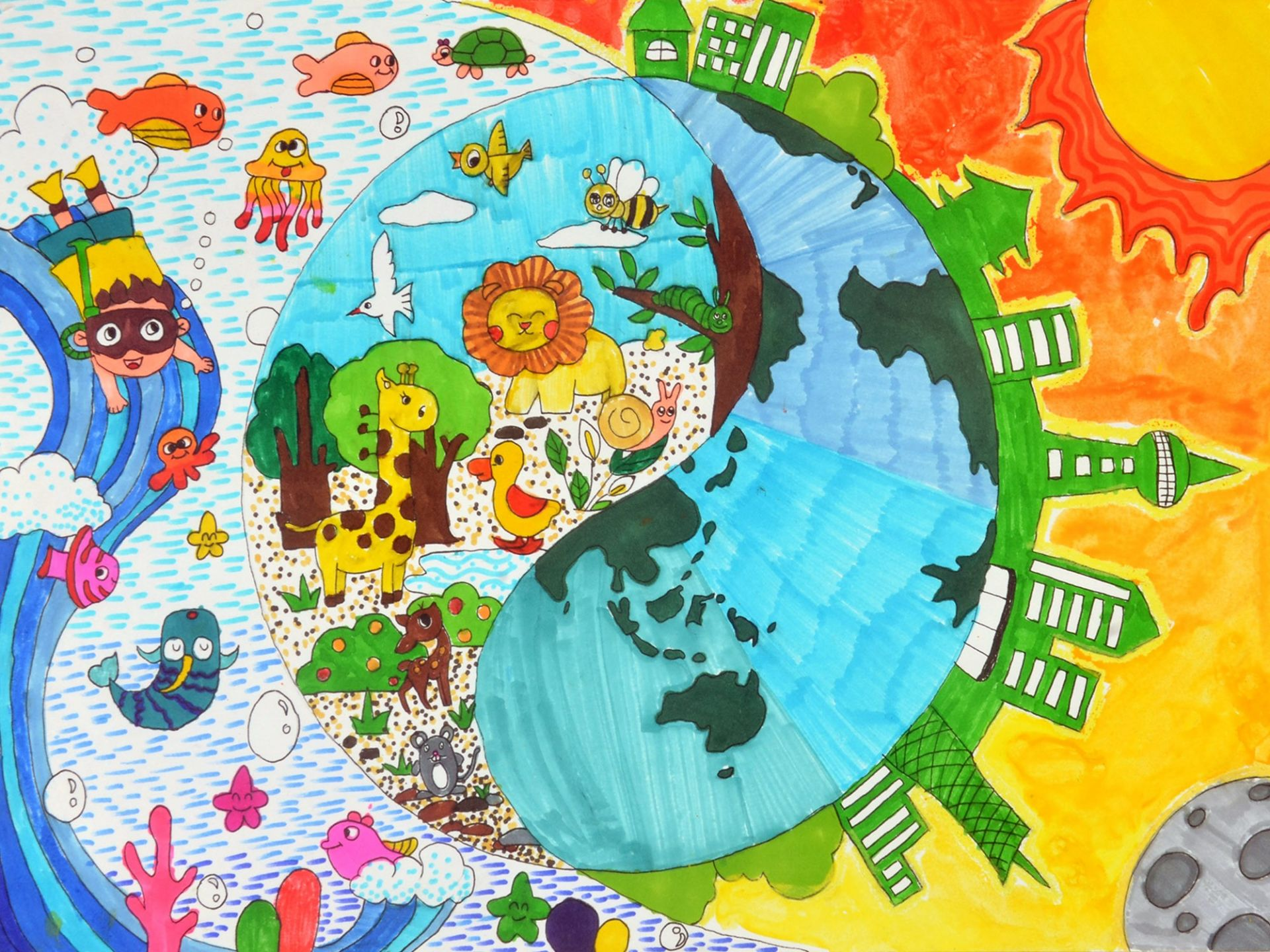 我是自然创想家|生物多样性大型雕塑主题彩绘公益活动优秀作品线上展·小画家系列(八)