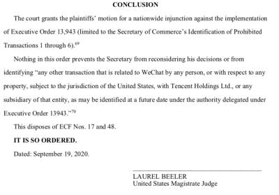 美国联邦法官暂停总统的微信禁令